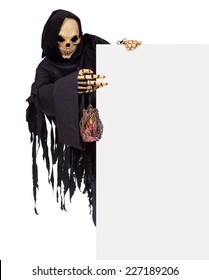 Grim Reaper pointing at a blank panel, isolated on white background. Ghost skeleton with lamp holding a blank advertising board. The demon monster bears billboard.