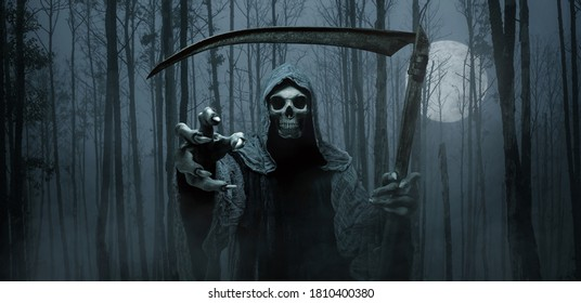 Grim reaper reaching towards the camera over dark forest background