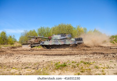 GRIMMEN / GERMANY - MAY 5: german leopard 1 a 5 tank drives on track on a motortechnic festival on may 5, 2016 in Grimmen / Germany.