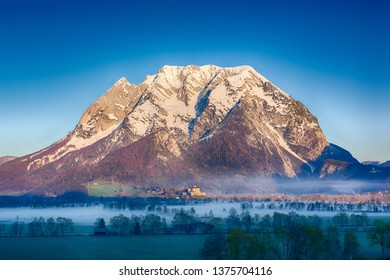 Grimming mountain in Ennstal, Steiermark, Austria during a beautiful sunny spring day.