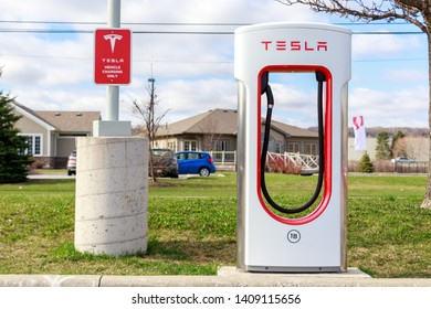 GRIMSBY, CANADA - April 24th, 2019:  One Tesla Supercharger Stall at Tesla's Grimsby location.