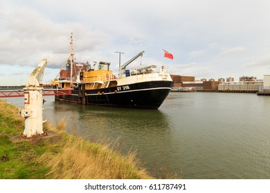 GRIMSBY, ENGLAND - MARCH 14: The 'Ross Tiger' traditional side-winder fishing trawler ship, converted into museum ship. Alexandra Dock. In Grimsby, North Lincolnshire, England. On 14th March 2017.