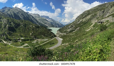 Grimselpass, Switzerland - August 16, 2016: Panoramic view of the Grimselpass valley.