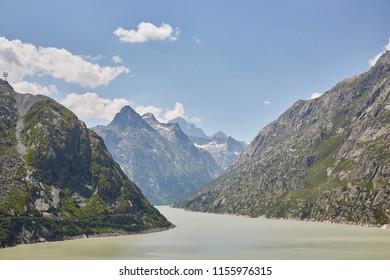 Grimselpass Switzerland, sunny blue sky summer