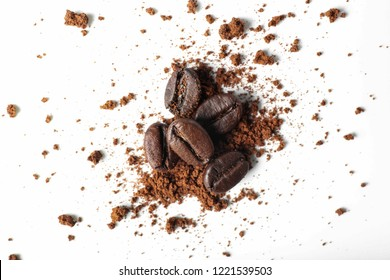 Grind coffee and beans on white background