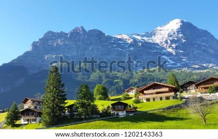 Grindelwald Beautiful Village Mountain Scenery Switzerland Stock