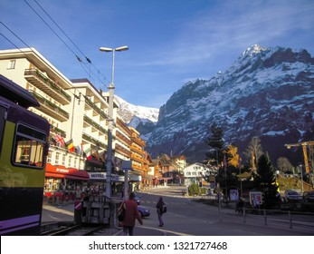 Grindelwald Station front in the autumn evening, Grindelwald, Canton of Bern, Switzerland