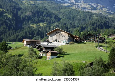 GRINDELWALD, SWITZERLAND - JULY 24:  A beautiful Alpine village in Swiss Alps seen through the Bernese Oberland mountain railways on July 24, 2015, Grindelwald, Switzerland
