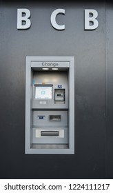 Grindelwald, Switzerland - Oct 21, 2018. Currency exchange machine in Grindelwald, Switzerland. Grindelwald was one of the first tourist resorts in Europe.