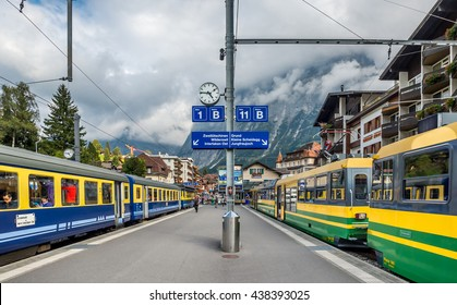 GRINDELWALD, SWITZERLAND - SEPTEMBER 27, 2015 : View of Grindelwald train station  in Jungfrau region, Switzerland.  Grindelwald village is located at 1,034 m above sea level in the Bernese Alps.