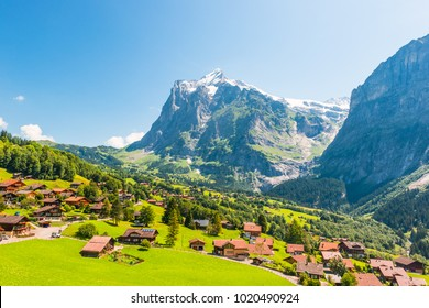 Grindelwald is a village in the Interlaken Oberhasli district in the canton of Berne in Switzerland. Arial view