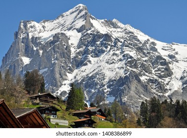 Grindelwald,switzerland with mountain Peak snow covered