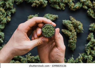 Grinder A lot of marijuana, fresh buds of cannabis many weed. Copy-space