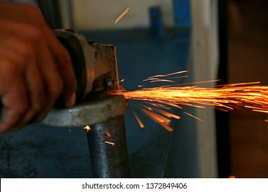 The grinding sparks