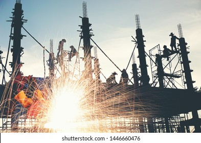 Grinding and sparks ,building-site background