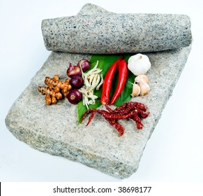 grinding stone with fresh herbs