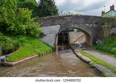 Grindley Brook bridge No 28 over the Llangollen Canal near Grindley Brook in Shropshire, UK