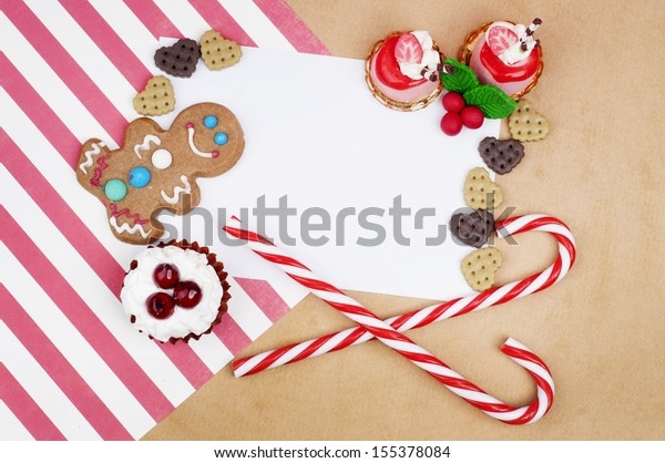 Gringerbread Man Cookie Christmas Card Design Stock Photo (Edit Now) 155378084