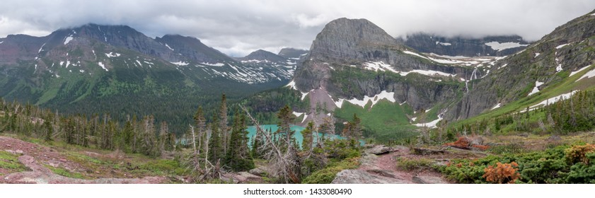 Grinnell Lake Overlook Panorama in Montana wilderness