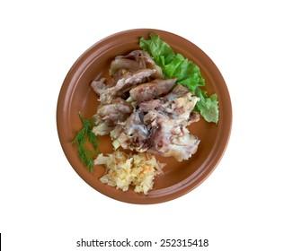 Grisfotter - Scandinavian cuisine.Pickled pigs feet