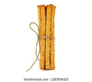 Grissini breadsticks with sesame seeds