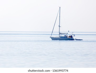GRISSLEHAMN, SWEDEN - JUL 15, 2018: Sailship on the blue ocean in the swedish archipelago, islets in the foreground. July 15 2018, Grisslehamn, Sweden