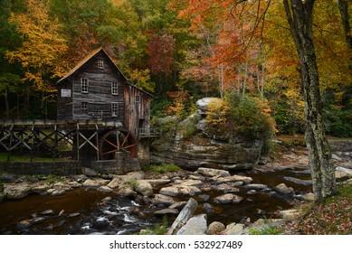 grist mill landmark of west viginia in autumn