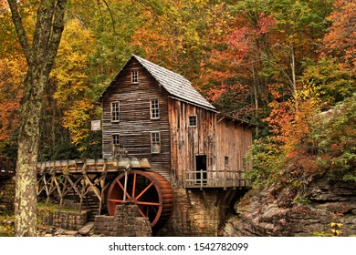 Grist Mill surrounded by fall colors