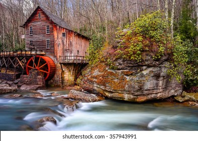 Gristmill and flowing water at Babcock State Park in West Virginia