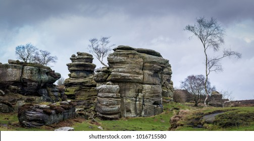 Grit rock outcrop at historical Brimham Rocks on Brimham moor near Pateley Bridge in Yorkshire
