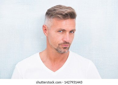 Grizzle hair suits him. Deal with gray roots. Man attractive well groomed facial hair. Barber shop concept. Barber and hairdresser. Man mature good looking model. Silver hair shampoo. Anti ageing.