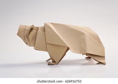 Grizzly bear origami with white background