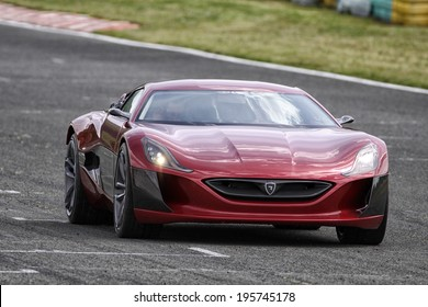 GROBNIK - MAY 14: Rimac Concept One Full Electric Car With 1088 HP tested at race track Grobnik, on May 14, 2014 in Rijeka, Croatoa.