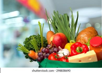 Groceries, Bag, Fruit.