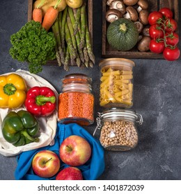 Groceries in reusable packing, cotton bag and glass jars with organic vegetables and food, eco-friendly lifestyle and shopping, zero waste and sustainable living