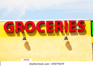 Groceries Sign In Downton City.
