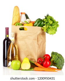 Grocery bag full of products isolated on white and decorated