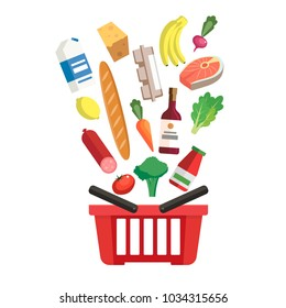Grocery basket - a shopping basket with different foods and beverages. Illustration in flat style, design template