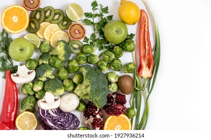 Grocery composition with bright fresh vegetables on an isolated background Top view on healthy fruits