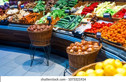 grocery counter in the market, such as cabbage, potatoes, carrots, buryak, onions, salad bow and carlik