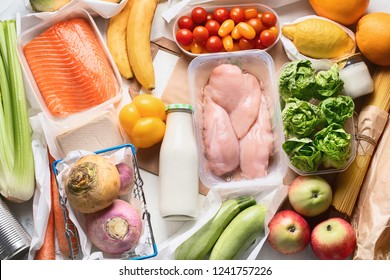 Grocery. Different health food. Grocery shopping concept. Balanced diet. Top view