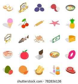 Grocery icons set. Cartoon set of 25 grocery  icons for web isolated on white background