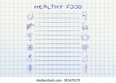 grocery list template with fruit an vegetables icons and lines to add text