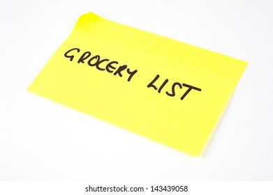 'Grocery List' written on a yellow sticky note