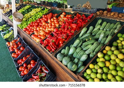grocery market fruits vegetabes greece for background