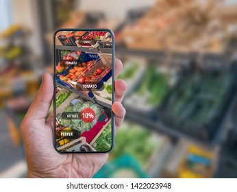 Grocery Shopping App with Retail AR (Augmented Reality) with name tags of vegetables.