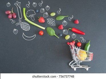 Grocery shopping cart filled with fruits and vegetables
