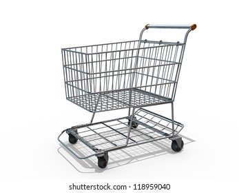 A Grocery shopping cart on a white background.