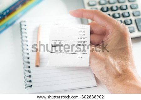 grocery shopping list hand calculator pencil stock photo edit now