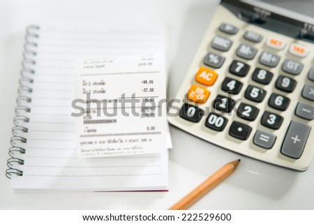 grocery shopping list on notebook calculator stock photo edit now
